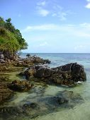 stock photo of promontory  - The beautiful Gelam beach located on the promontory of the island of Java Karimun - JPG
