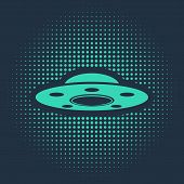 Green Ufo Flying Spaceship Icon Isolated On Blue Background. Flying Saucer. Alien Space Ship. Futuri poster