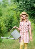 Watering Tools. Girl Child Hold Watering Can. Spring Gardening Checklist. Measure Soil Water Content poster