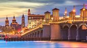 St. Augustine, Florida, USA city skyline and Bridge of Lions at dusk. poster