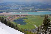 Landscape Of Bavarian Alps In Germany, Hohenschwangau Castle View Landscape Of Bavarian Alps In Germ