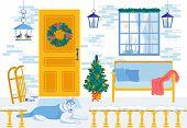 New Year Interior. Decorative Cartoon Design. Xmas Holiday. Christmas Eve. Dog Rest On Home Veranda. poster