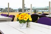 Spring On The Coast. Flowers On The Table In A Street Cafe In The Hague. Netherlands. Den Haag