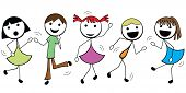 Cartoon Stick Children Active Dance