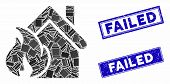 Mosaic Realty Fire Disaster Icon And Rectangle Seal Stamps. Flat Vector Realty Fire Disaster Mosaic  poster