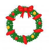 Christmas Wreath Flat Vector Illustration. New Year Decoration Symbol Isolated Clipart On White Back poster