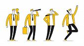 Businessman Character. Flat Successful Businessman In Different Poses. Happy Line Male Vector Illust poster