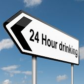 pic of underage  - Illustration depicting a road traffic sign with a 24 hour drinking concept - JPG