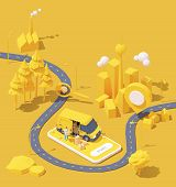 Vector Parcel And Mail Delivery Service And Tracking App Illustration, Smartphone With Yellow Delive poster