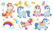 Magic Unicorns. Baby Little Fairytale Animals Pony Horse Pink Characters With Rainbows For Girls Vec poster
