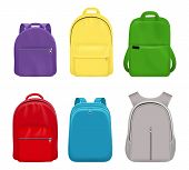 School Backpack. College Realistic Students Handy Items Luggage Travel Vector Collection Front Side. poster