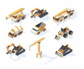 Vehicle Constructions. Big Cars Truck Van Crane Excavator Transporter 3d Machinery For Builders Vect poster