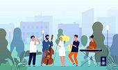 Musicians In Garden. Music Band Performing Show In Park Singers And Musical Players Trees Outdoor Ve poster