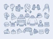 Winter Clothes. Xmas Fashion Hat Mittens Socks Sweater Scarf Vector Doodle Collection. Socks Clothes poster
