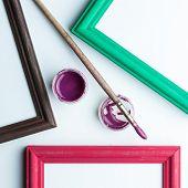 Frame, Painbrushe And Acrilic Paint.