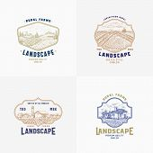 Abstract Vector Rural Farm Signs, Badges Or Logo Templates Bundle. Rustic Landscape Sketches In Fram poster