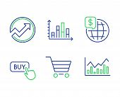 World Money, Market Sale And Buy Button Line Icons Set. Audit, Diagram Graph And Infochart Signs. Gl poster