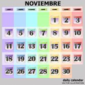 Colorful Calendar For November 2019 In Spanish. Set Of Buttons With Calendar Dates For The Month Of  poster