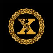 Premium, Elegant Capital Letter X In A Round Frame Is Made Of Floral Ornament. Baroque Style.elegant poster