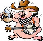 Ilustración vectorial de un cerdo tocando el Banjo dibujados a mano
