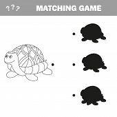 Funny Turtle - Shadow Educational Kids Game. Vector Illustration Of Shadow Matching Educational Game poster
