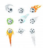 Football Or Soccer Balls With Motion Trails In Black And White For Sporting Emblems, Logo Design. Co poster