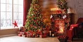 Interior Christmas. Magic Glowing Tree, Fireplace And Gifts poster
