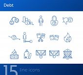 Debt Icons. Set Of Line Icons On White Background. Arrested Bank, Broken Jar, Cutting Credit Card. B poster