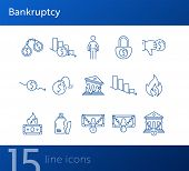 Bankruptcy Icons. Set Of Line Icons On White Background. Financial Crime, Decrease, Burning Money. E poster