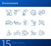 Environment Line Icons. Set Of Line Icons. Co2 Emission, Forest. Ecology Concept. Vector Illustratio poster