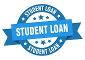 Student Loan Ribbon. Student Loan Round Blue Sign. Student Loan poster