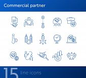 Commercial Partner Icons. Set Of Line Icons. Global Time, Successful Rating, Cooperating Firms. Part poster