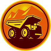 image of dumper  - Illustration of a mining dump dumper truck lorry viewed from side set inside circle done in retro style on isolated background - JPG