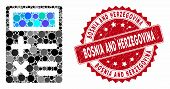 Collage Calculator And Rubber Stamp Seal With Bosnia And Herzegovina Phrase. Mosaic Vector Is Formed poster