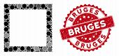 Mosaic Contour Square And Grunge Stamp Seal With Bruges Caption. Mosaic Vector Is Created From Conto poster