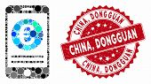 Mosaic Euro Smartphone Banking And Distressed Stamp Seal With China, Dongguan Text. Mosaic Vector Is poster