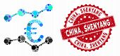 Mosaic Euro Trends And Rubber Stamp Watermark With China, Shenyang Text. Mosaic Vector Is Composed W poster