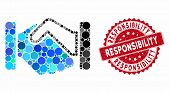 Mosaic Handshake And Grunge Stamp Seal With Responsibility Text. Mosaic Vector Is Formed With Handsh poster