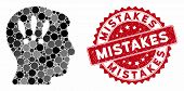 Mosaic Head Problems And Distressed Stamp Seal With Mistakes Caption. Mosaic Vector Is Formed With H poster