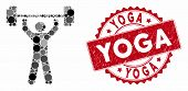 Mosaic Power Lifting And Rubber Stamp Seal With Yoga Text. Mosaic Vector Is Composed With Power Lift poster