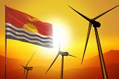 Kiribati Wind Energy, Alternative Energy Environment Concept With Turbines And Flag On Sunset - Alte poster