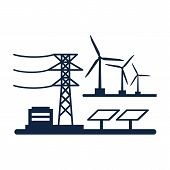 Ecology Power Concept. New Energy Type. Alternative Energy. Alternative Wind Energy Station. New Eco poster