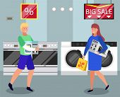 People Buying Washing Machine, Microwave Oven And Tablet On Sale. Man Carrying Tablet In Package And poster