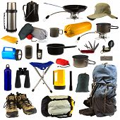 stock photo of boot camp  - Camping gear collage isolated on white background - JPG