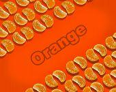 Oranges Fruit Isolated On Orange Background, Pattern Of Oranges, Decorative Pattern poster