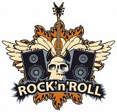 Vector Music Banner With Lettering Rock And Roll, Human Skull, Electric Guitar, Speakers, White Wing poster