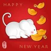 2020 Chinese New Year Of Cute Cartoon Mouse Searching For Golden Ingot. Chinese Translation : New Ye poster