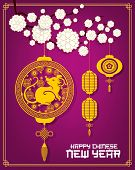 Chinese Lanterns With Lunar New Year Rat Vector Design. Golden Mouse Symbol Of China Animal Zodiac W poster