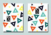 Trendy Cover With Graphic Shapes - Abstract Triangles. Two Modern Vector Flyers In Avant-garde  Styl poster