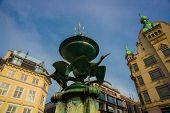 Copenhagen, Denmark: Fountain Stork On Amagertorv Square At The City Centre. poster